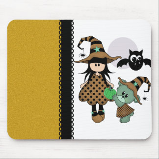 Halloween Witch with Teddy Bear Mouse Pad