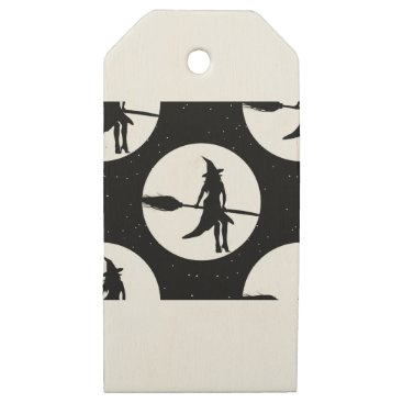 halloween witch wooden gift tags