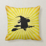 Halloween Witch; yellow Pillow