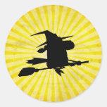 Halloween Witch; yellow Round Stickers