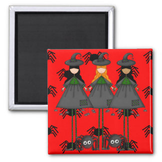 Halloween Witches 2 Inch Square Magnet
