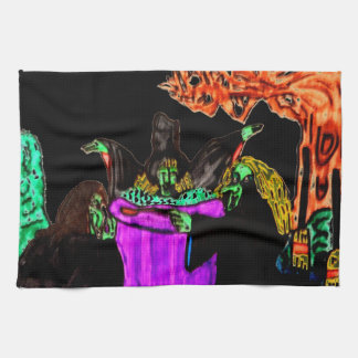 HALLOWEEN WITCHES AND CULDRON towel