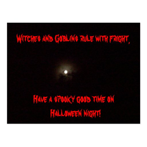 HALLOWEEN WITCHES AND GOBLINS RULE postcard