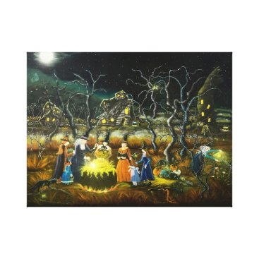 Halloween Themed Halloween witches around a cauldron canvas print