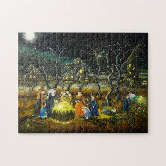 Halloween witches around a cauldron jigsaw puzzle