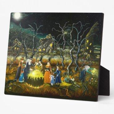 Halloween Themed Halloween witches around the teaching cauldron plaque