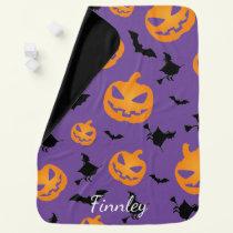 Halloween Witches Bats Pumpkins Baby Blanket
