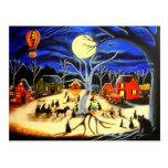 Halloween,witches,black,cat,hot,air balloon post card