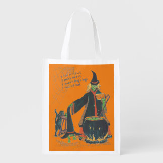 Halloween Witches Brew Bat Newt Frog Color Design Grocery Bags