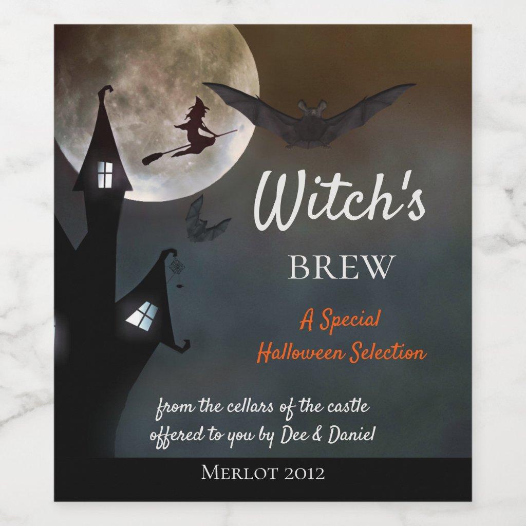 Halloween Witches Brew Wine Label