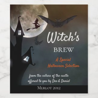 Halloween Witches Brew Wine Label