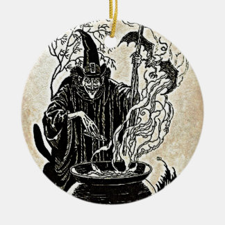 Halloween Witches Cauldron Ceramic Ornament