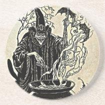 Halloween Witches Cauldron Sandstone Coaster