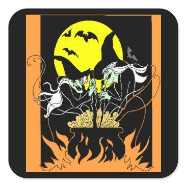 Halloween Themed Halloween Witches Cauldron Square Sticker