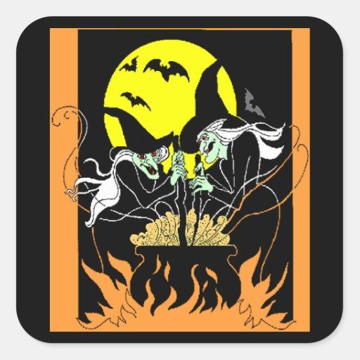 Halloween Witches Cauldron Square Sticker
