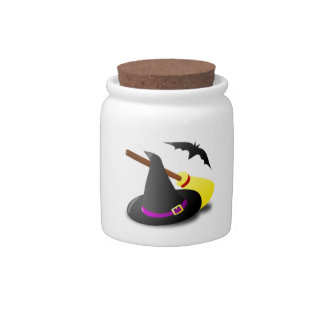 Halloween Witches Hat and Broom Candy Dish
