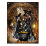 Halloween Witches in Black Post Card