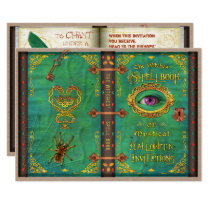 Halloween Witches Magic Spell Book Eyeball Party Invitation