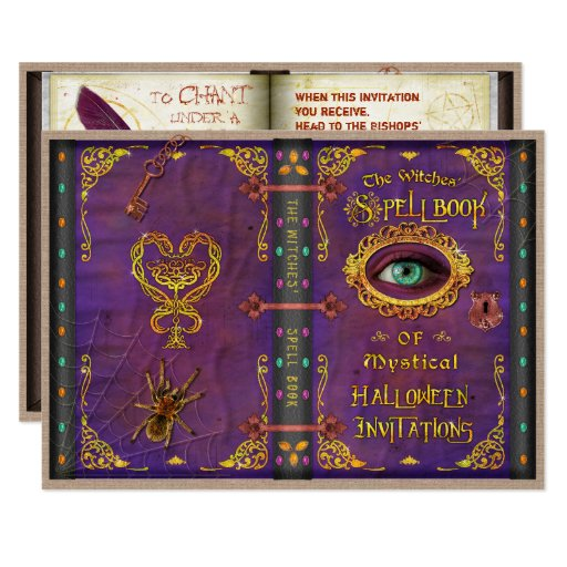 Image Halloween Witches Magic Spell Book Eyeball Spider Invitation