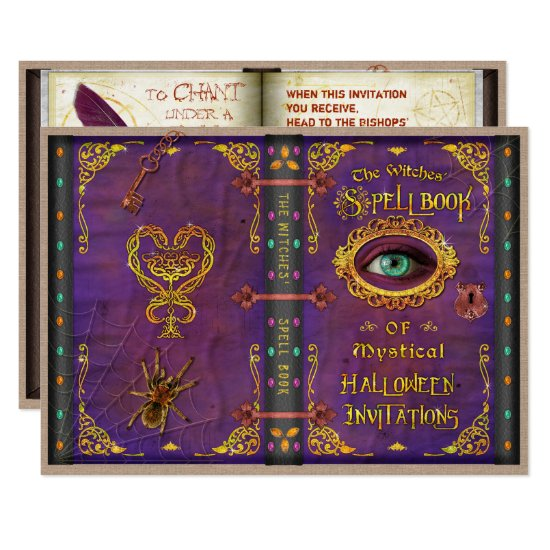 Halloween Witches Magic Spell Book Eyeball Spider Invitation
