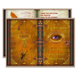 Halloween Witches Magic Spell Book Spooky Party Card