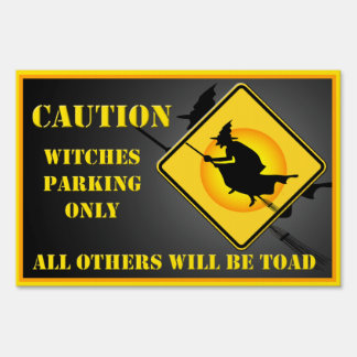Halloween Witches Parking Small Yard Sign 2