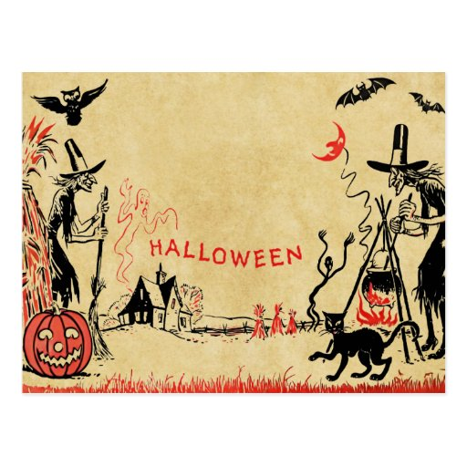 Halloween Witches Postcard