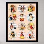 Halloween Witches Pumpkins Sheet Music Collage Art Poster