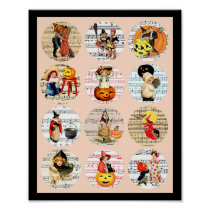 Halloween Witches Pumpkins Sheet Music Collage Art
