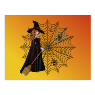Halloween Witches Wed Postcard