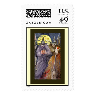 Halloween witchs postage stamps