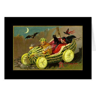 Halloween Witch's Watermelon Car Card