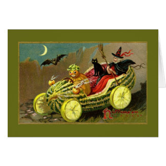 Halloween Witch's Watermelon Car Greeting Card