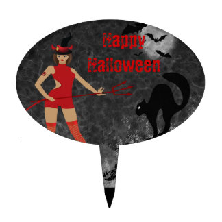 Halloween Witchy Devil Girl Cake Topper