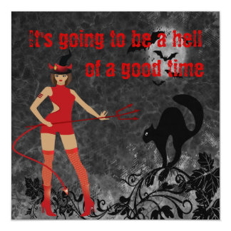 Halloween Witchy Devil Girl Card