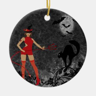 Halloween Witchy Devil Girl Ceramic Ornament