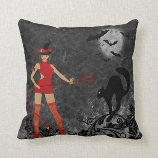 Halloween Witchy Devil Girl Throw Pillows
