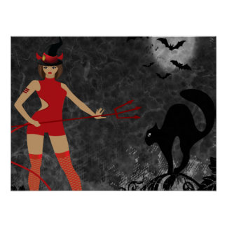 Halloween Witchy Devil Girl Poster