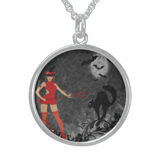 Halloween Witchy Devil Girl Round Pendant Necklace