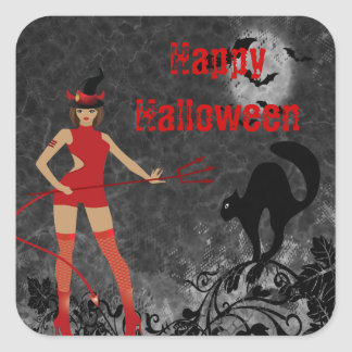 Halloween Witchy Devil Girl Square Sticker