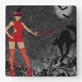 Halloween Witchy Devil Girl Square Wall Clock