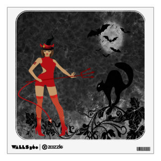 Halloween Witchy Devil Girl Wall Sticker
