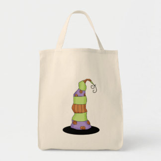 Halloween with funky witches hat tote grocery tote bag