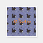 Halloween with ghosts witches and bats paper napkin