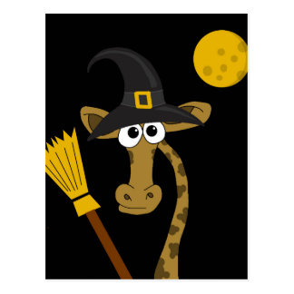 Halloween with giraffe postcard