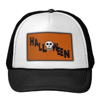 Halloween With Skull, Webs & Orange Background Hats
