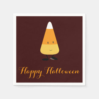 Halloween with Smiling Candy Corn Paper Napkin