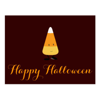 Halloween with Smiling Candy Corn Postcard
