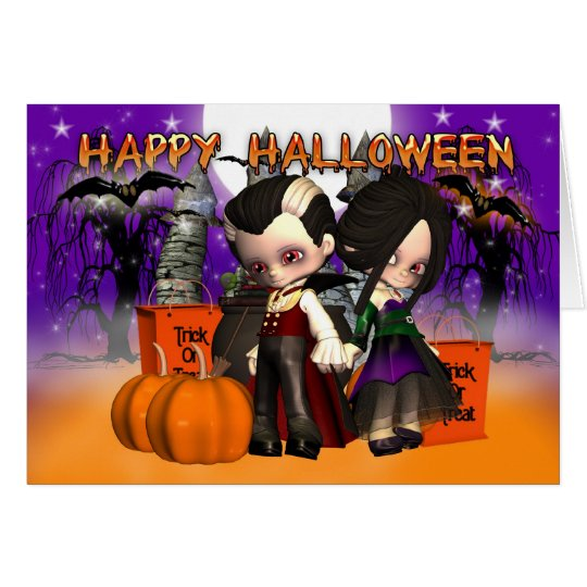 Halloween with two little vampires card