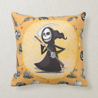 Halloween with witch and ghost pumpkin skeleton   throw pillow